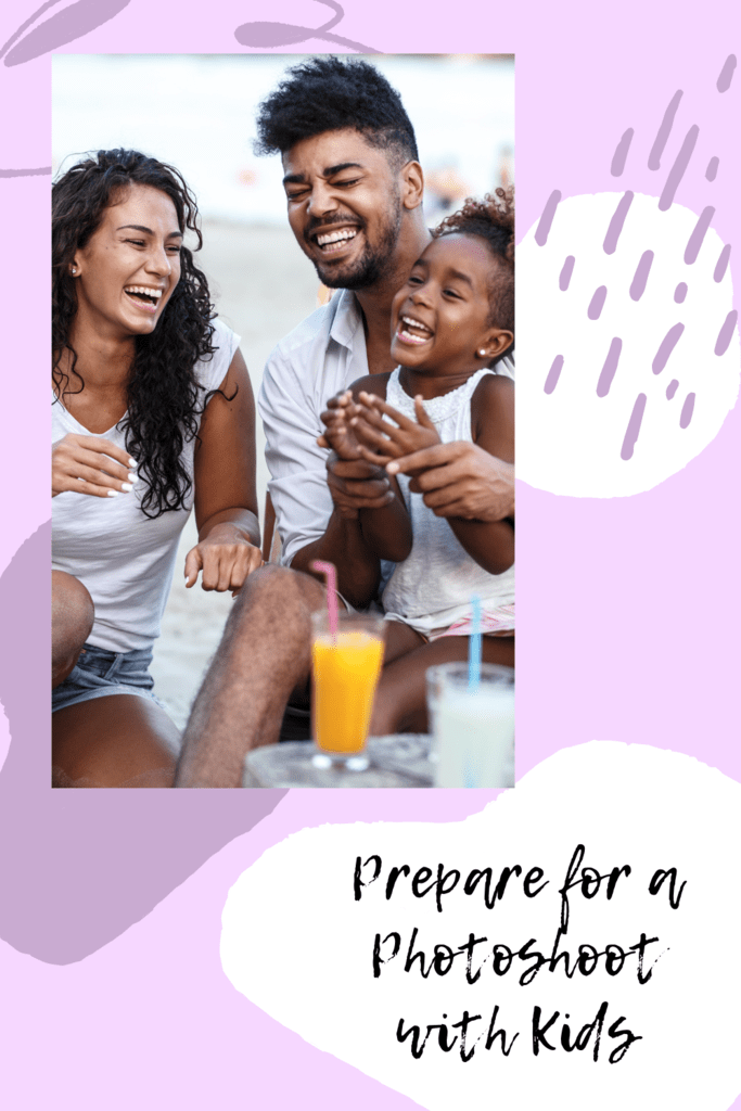 photoshoot with kids graphic with picture of mom dad daughter laughing at a table