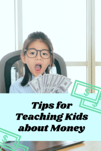 Teaching Kids about Money article graphic with photo of young girl holding a lot of money with a surprised look on her face