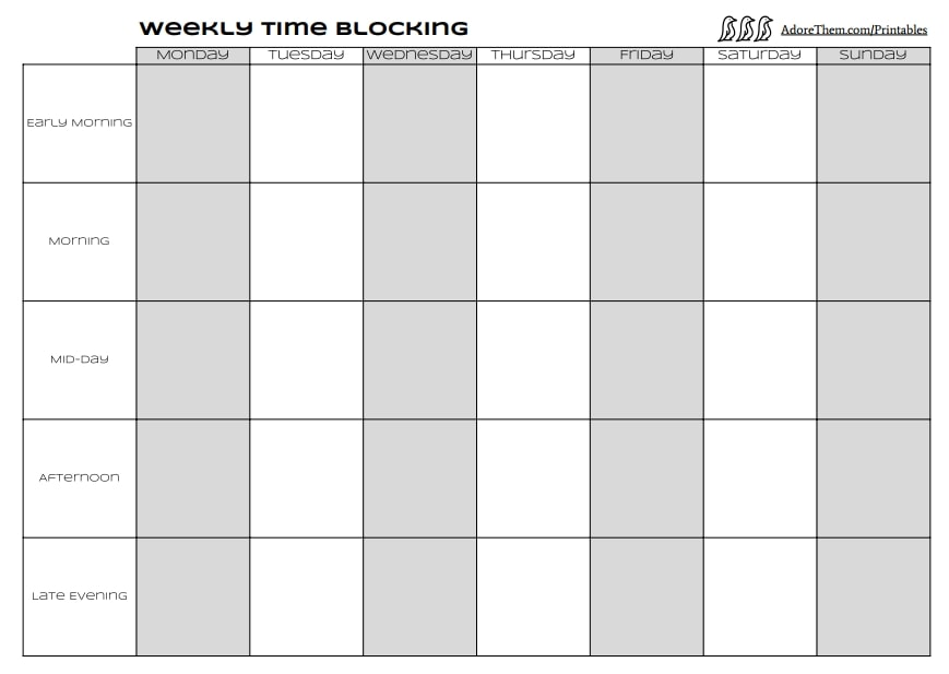 Weekly Time Blocking Printable