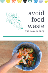 avoid food waste and save money article graphic with picture of a hand putting vegetables in a garbage can