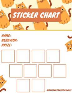 printable sticker charts - cats