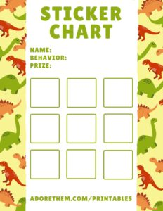 printable sticker charts - dinosaurs