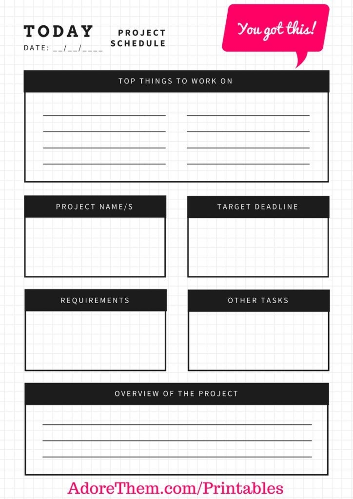 Printable Project Planner