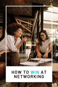 networking tips article graphic with two women smiling and talking