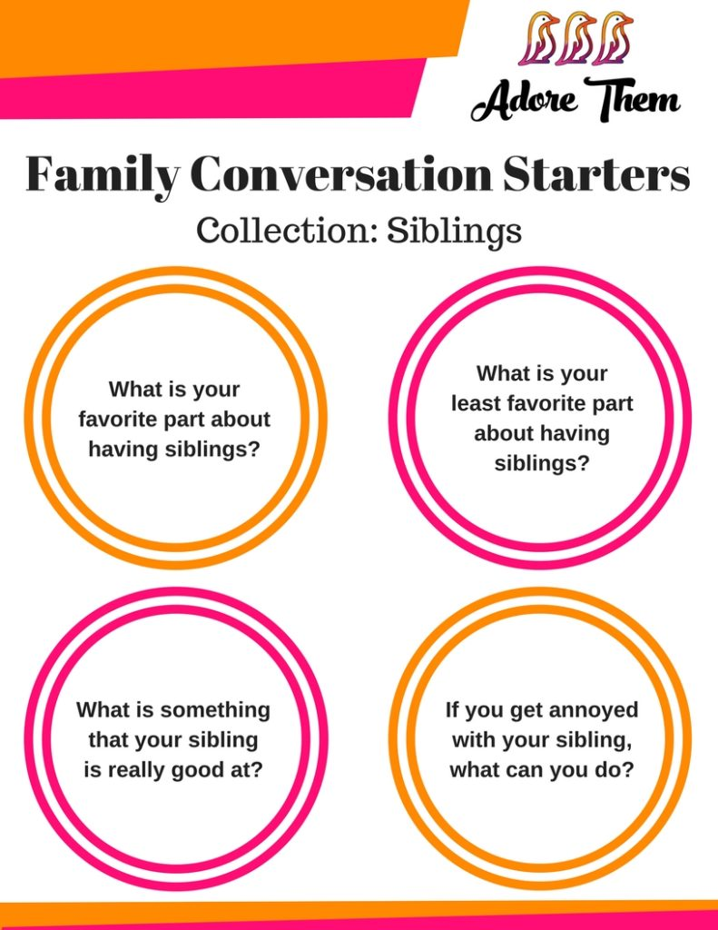 Family Conversation Starter for siblings
