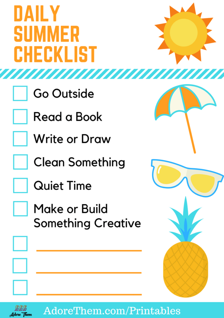 Daily Summer Checklist