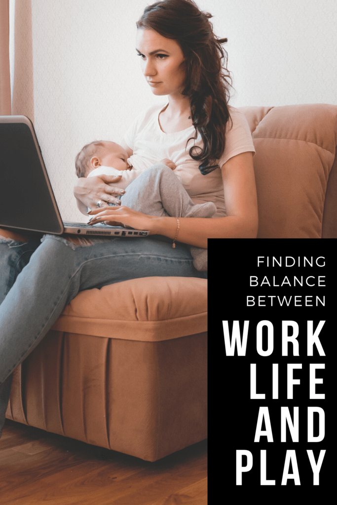 finding balance article graphic with picture of a mom holding her sleeping baby and a laptop
