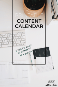 Free Printable Content Calendar
