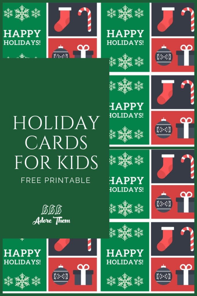 graphic relating to Free Printable Holiday Cards named Printable Family vacation Playing cards for Small children - Really like Them
