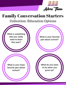 child education - family conversation starters