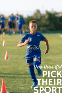 graphic for sport options for kids with text over a boy running and doing drills on a soccer field