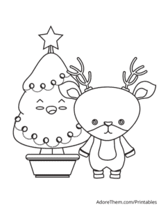 Free Christmas Coloring Pages Tree and Reindeer