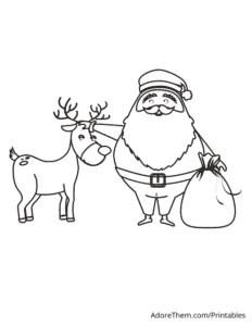Free Christmas Coloring Pages Santa and Reindeer