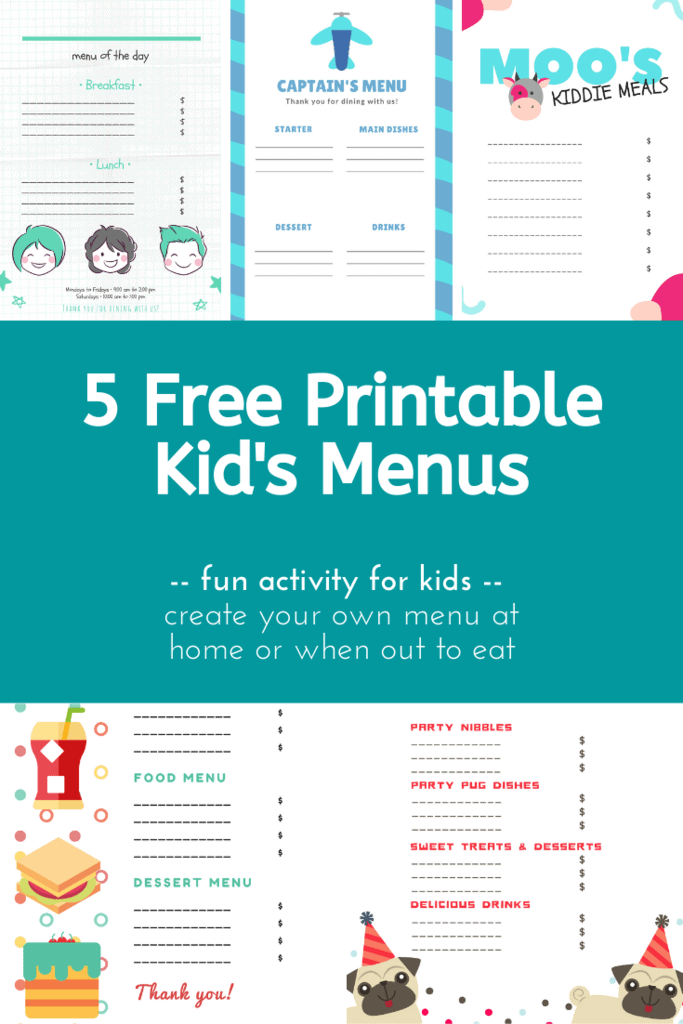 Free Printable Kid's Menus