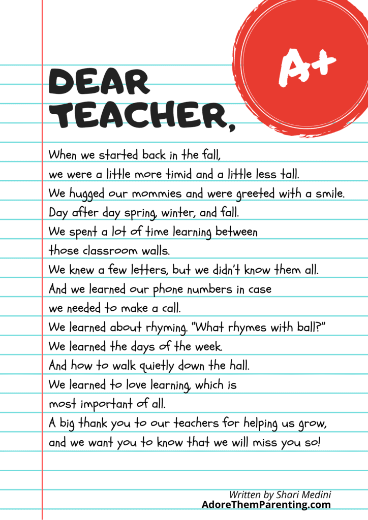 free printable teacher poem