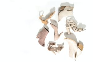 flat lay of scattered women's shoes