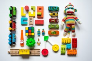 flat lay of colorful toys