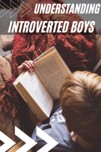 understanding introverted boys graphic with picture of top view of a boy reading a book with a blanket