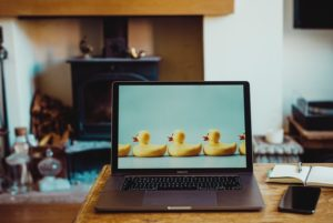 picture of a laptop in a living room with rubber duckies on the screen