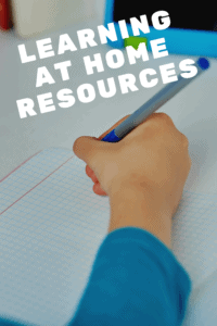 learning at home resources graphic with picture of a young boy