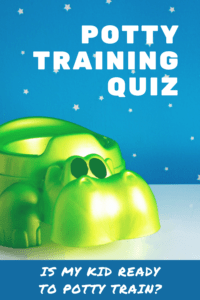 potty training quiz graphic with picture of a green potty with starry wall background
