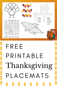 free printable thanksgiving placemats for kids graphic with yellow and orange colors