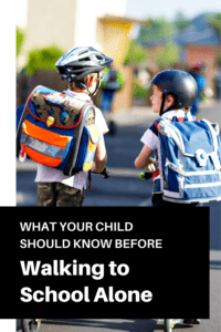 walking to school alone graphic with picture of two boys on scooters