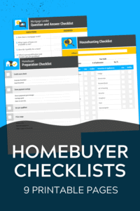 Homebuyer checklists free printable bundle graphic with blue background