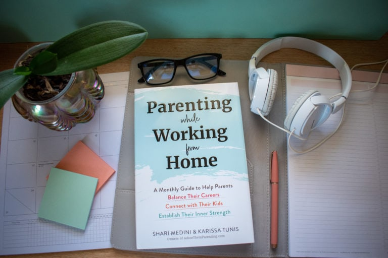 Parenting while Working from Home Book on a desk with office accessories
