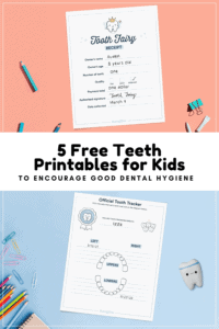 free teeth printables for kids graphic with mockup of tooth fairy receipt
