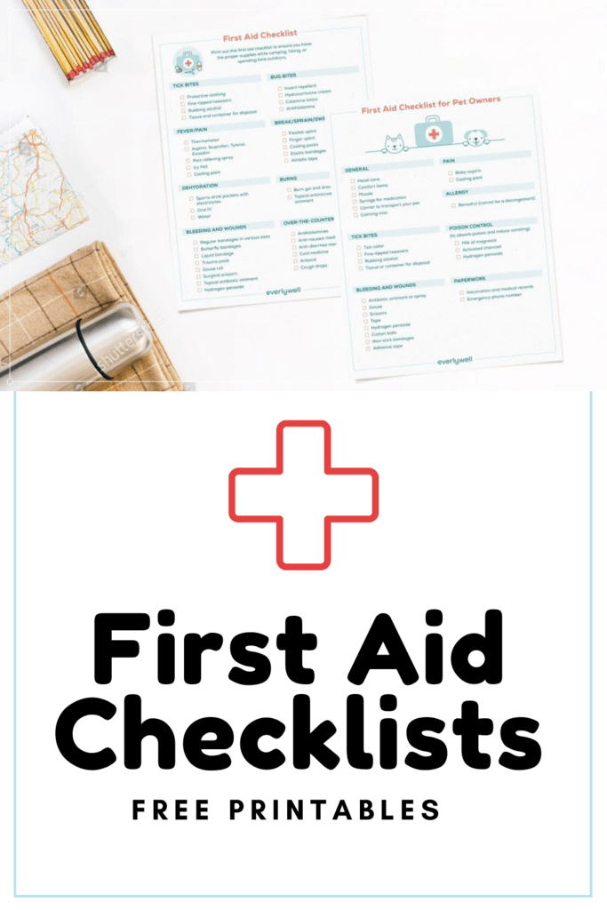 first aid checklists graphic with mockup of printables