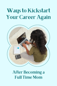 kickstart your career again graphic with image of woman working on laptop