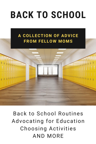 back to school collection graphic with a picture of an empty school hallways with yellow lockers