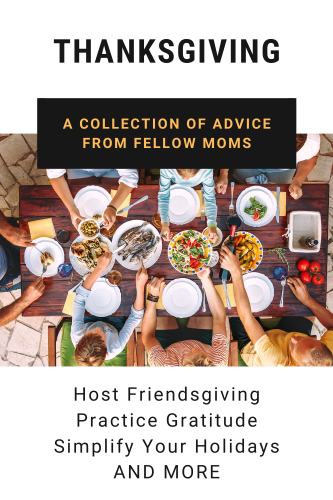 celebrate Thanksgiving collection graphic with a picture from above of a family eating at a table