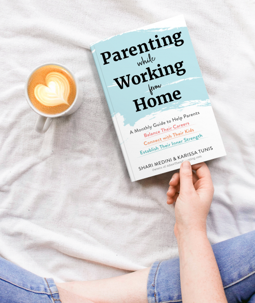 Parenting while working from home book mockup on bed