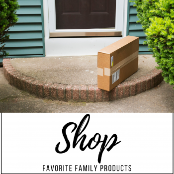 shop favorite family products graphic with picture of a package on a doorstep of a house with teal siding